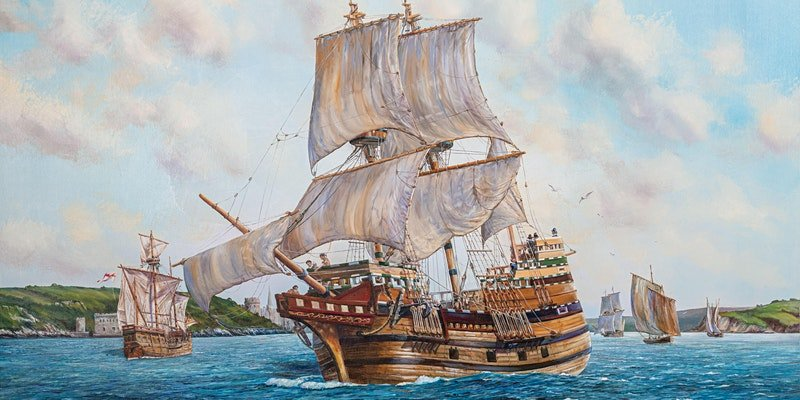 The Sails Fill as the Mayflower Leaves Plymouth